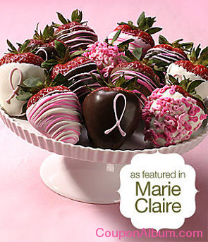 deluxe hand-dipped pink ribbon berries - full dozen