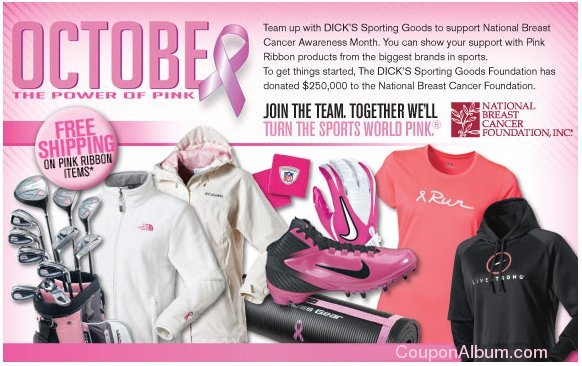 Dick's Sporting Goods is offering Free Shipping in its Pink Ribbon ...