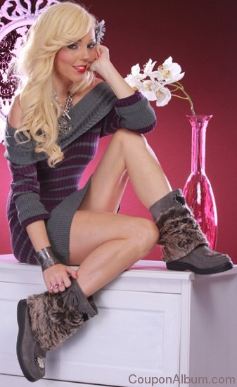 faux suede fur pom pom calf high boots