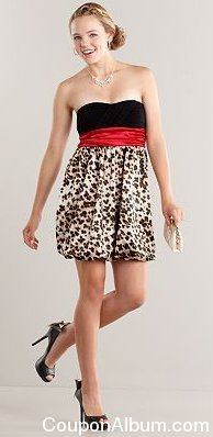 iz byer california animal strapless bubble dress