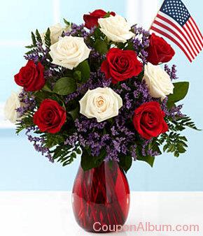 long stemmed patriotic roses