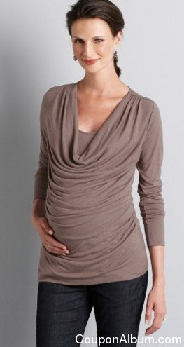 maternity long sleeve drape neck top