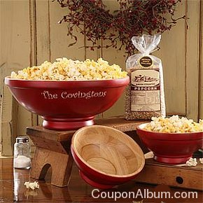old-fashioned red popcorn bowl set