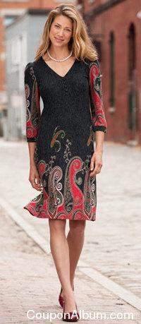 paisley border-print dress