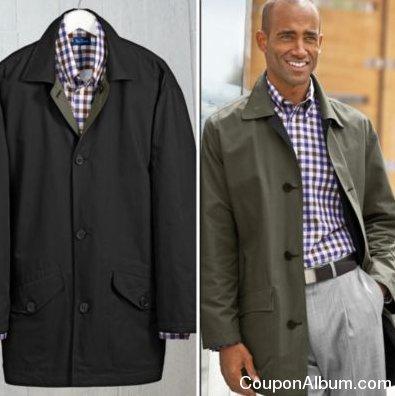 paul fredrick lightweight reversible car coat