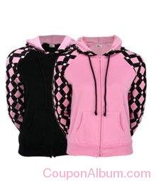 pink ribbon argyle two-toned hooded sweatshirt