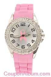 pink ribbon double rhinestone silicone watch
