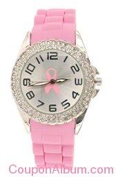 pink ribbon double rhinestone silicone watch