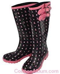 pink ribbons-hearts rain boots
