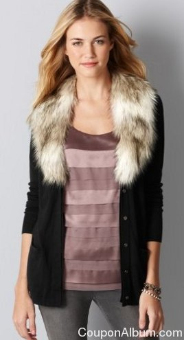 removable faux fur collar cardigan