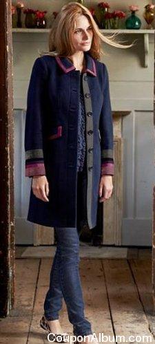 ribbon trimmed coat