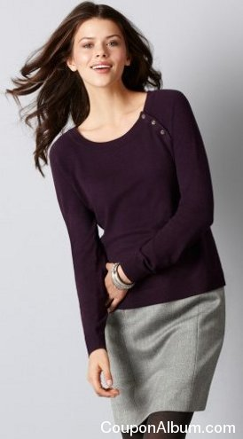 shoulder button long sleeve pullover