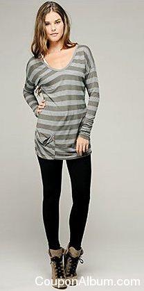 striped long sleeve hip-pocket top
