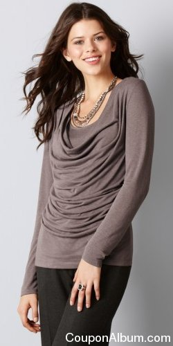 LOFT Petite Drape Neck Long Sleeve Top