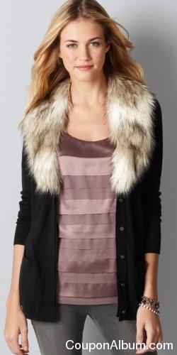 LOFT Petite Faux Fur Collar Cardigan