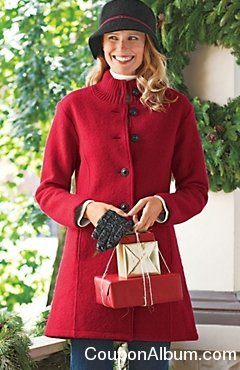 Women's Bonjour Boiled Wool Car Coat