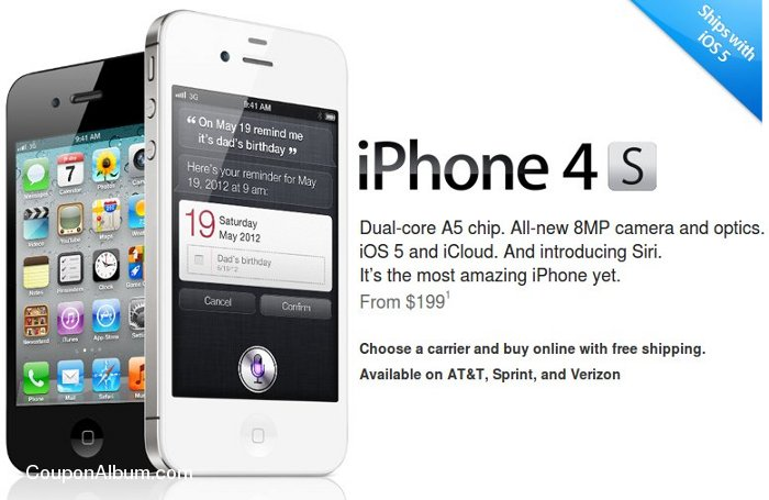 Shop iPhone 4S at Apple Store: Starting $199 + Free Shipping