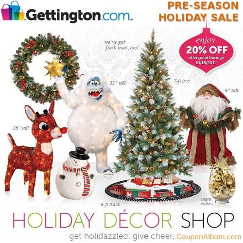 Gettington Pre-Season Holiday Sale: 20% OFF Holiday Decor | Online