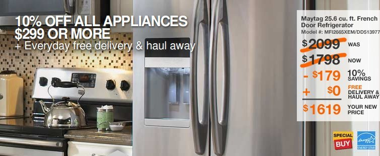 home depot appliances coupon