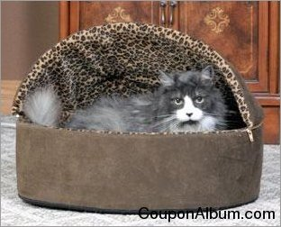 K&H mocha leopard thermo-kitty bed