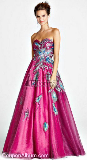 pink by blush prom dress