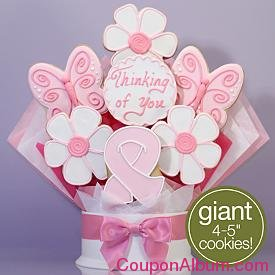 pink ribbon cookie bouquet