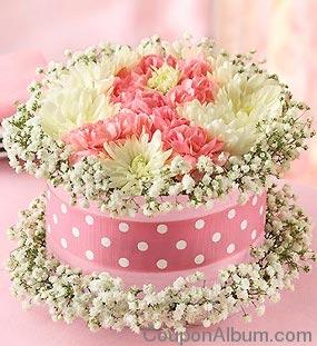 pink ribbon flower cake