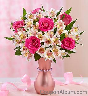 pink ribbon flower gift