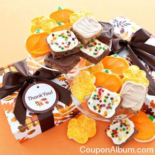 plaid leaves cookies and brownie box