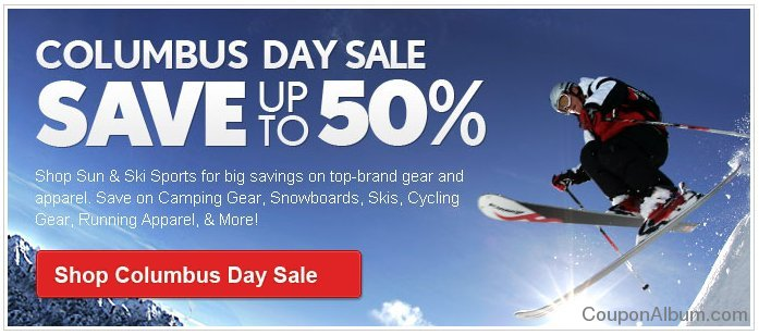 sun and ski sports columbus day sale