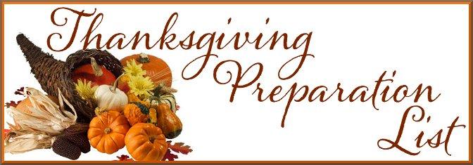 thanksgiving preparation list