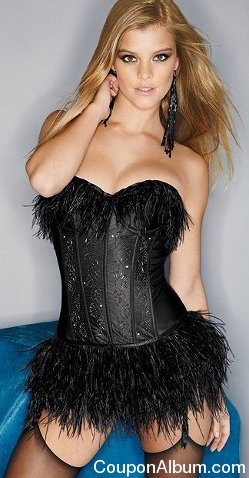 Beaded Ostrich Feather Corset