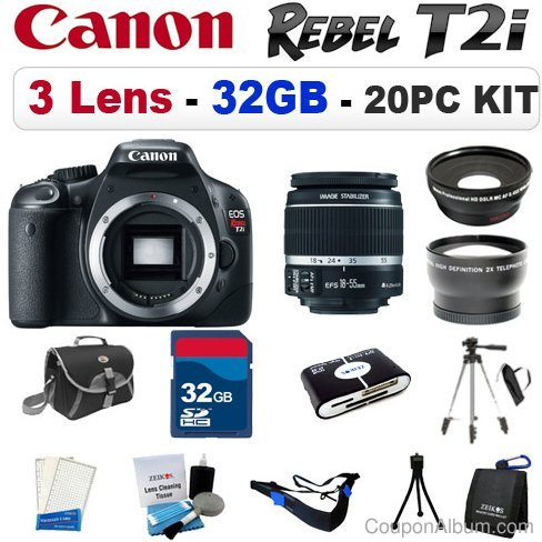 Canon EOS Rebel T2i Digital SLR Camera 3 LENS BUNDLE