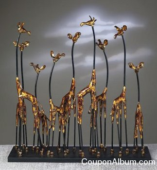 Dessau Home Bronze Giraffe Family Sculpture