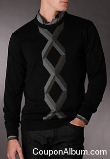 perry ellis centered argyle crew sweater