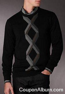 perry ellis centered argyle crew sweater