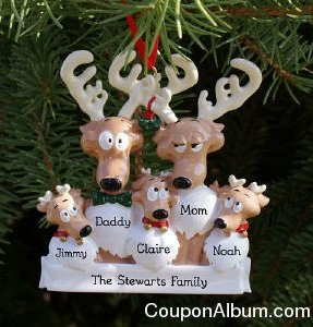 personalized reindeer family ornament