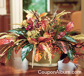 silk autumn leaves & berries centerpiece