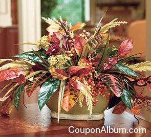 silk autumn leaves & berries centerpiece