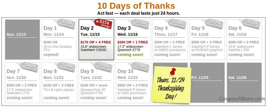 toshiba 10 days of thanks