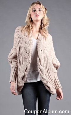 zoa chunky twisted cable cardigan sweater