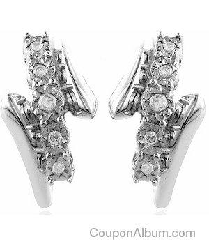 0.16ct TDW Diamond Hoop Earrings in Sterling Silver