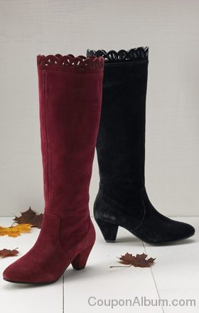 Cutout Suede Boots