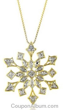 Diamond Snowflake Pendant in Two-tone Sterling Silver with Chain