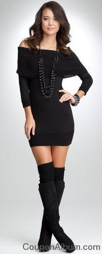 bebe Off Shoulder Lurex Sweater Dress