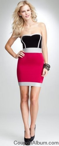 bebe Strapless Sweetheart Colorblock Lurex Dress