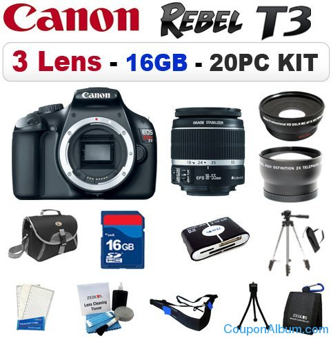 canon eos rebel t3 digital slr camera kit