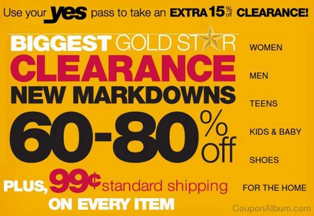 kohls gold star clearance sale