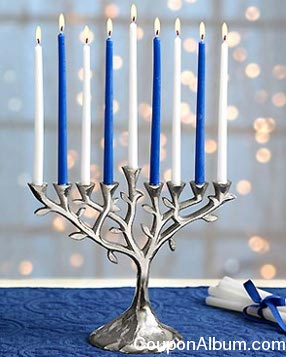 tree of life menorah and candle set