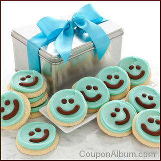 blue happy face gift tin